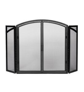 Arched Black Wrought Iron Tri-Folding Fireplace Screen with Doors