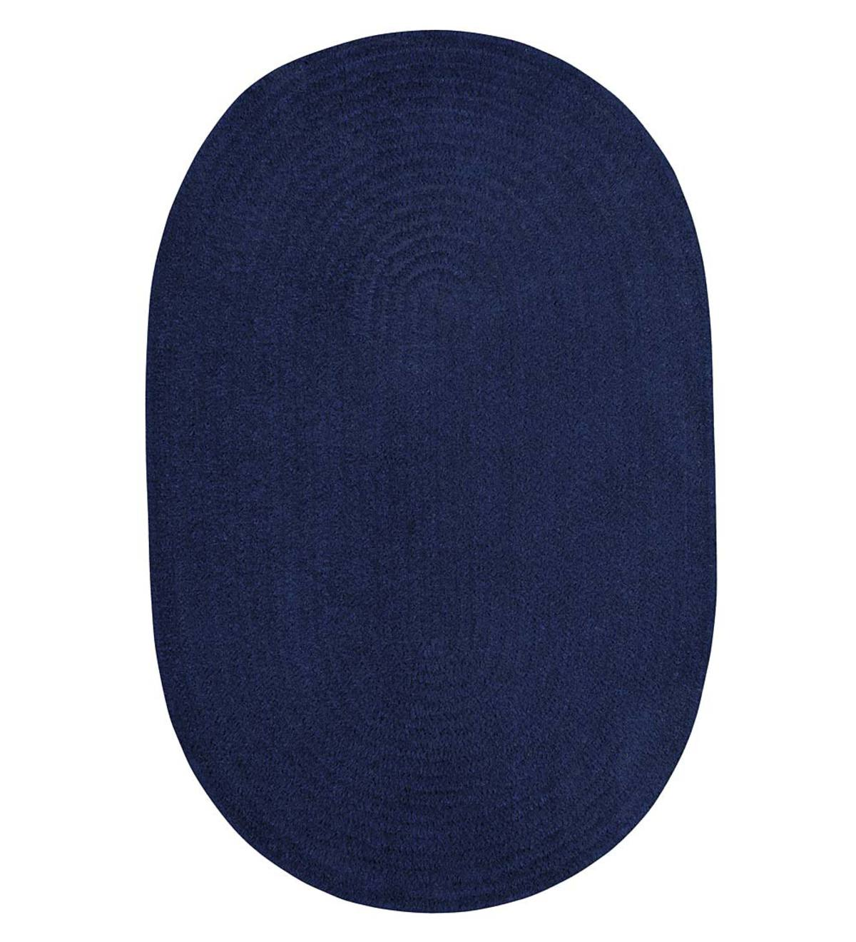Chenille Oval Braided Area Rug, 3' x 5' - Midnight Navy