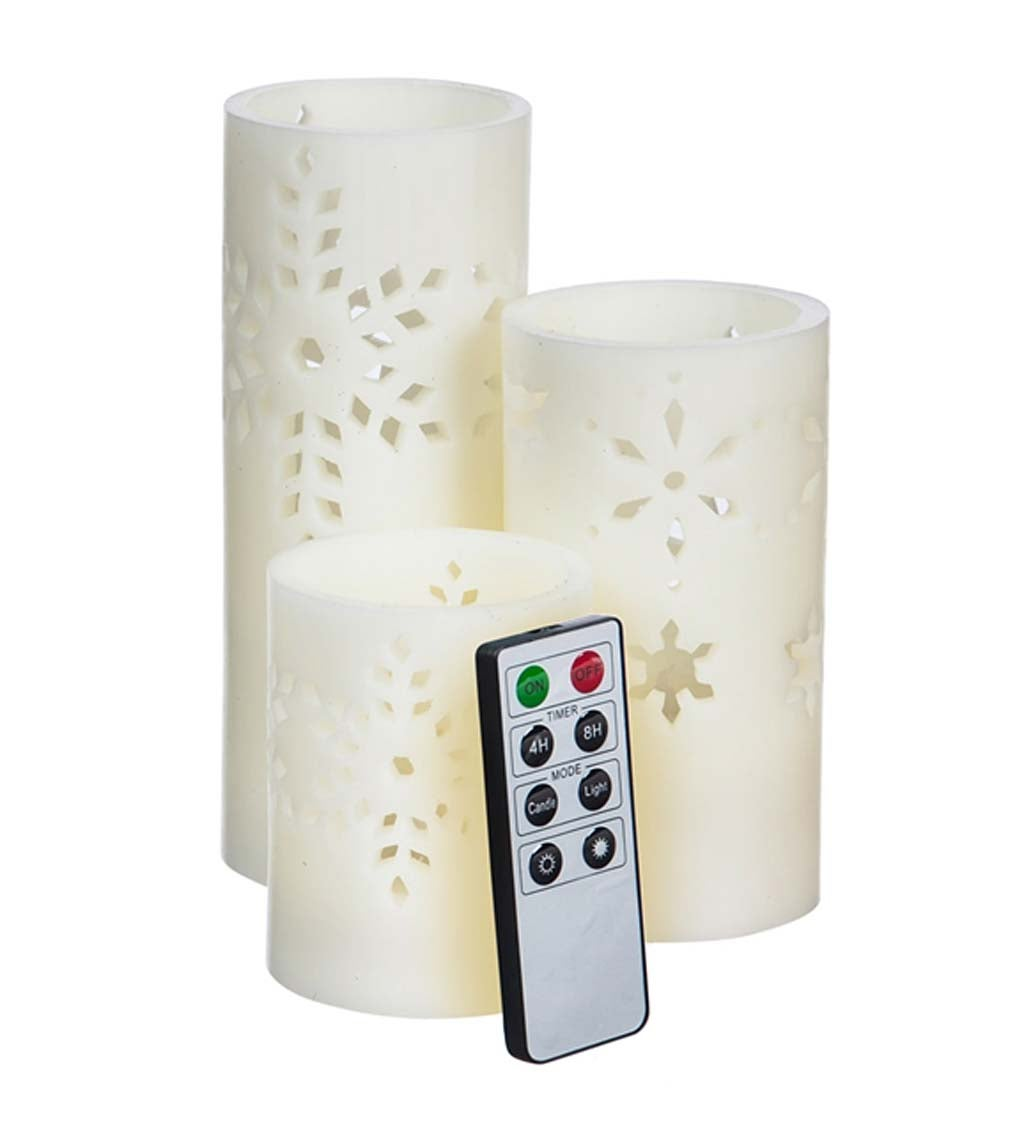 Snowflake Cutout LED Pillar Candles with Remote, Set of 3