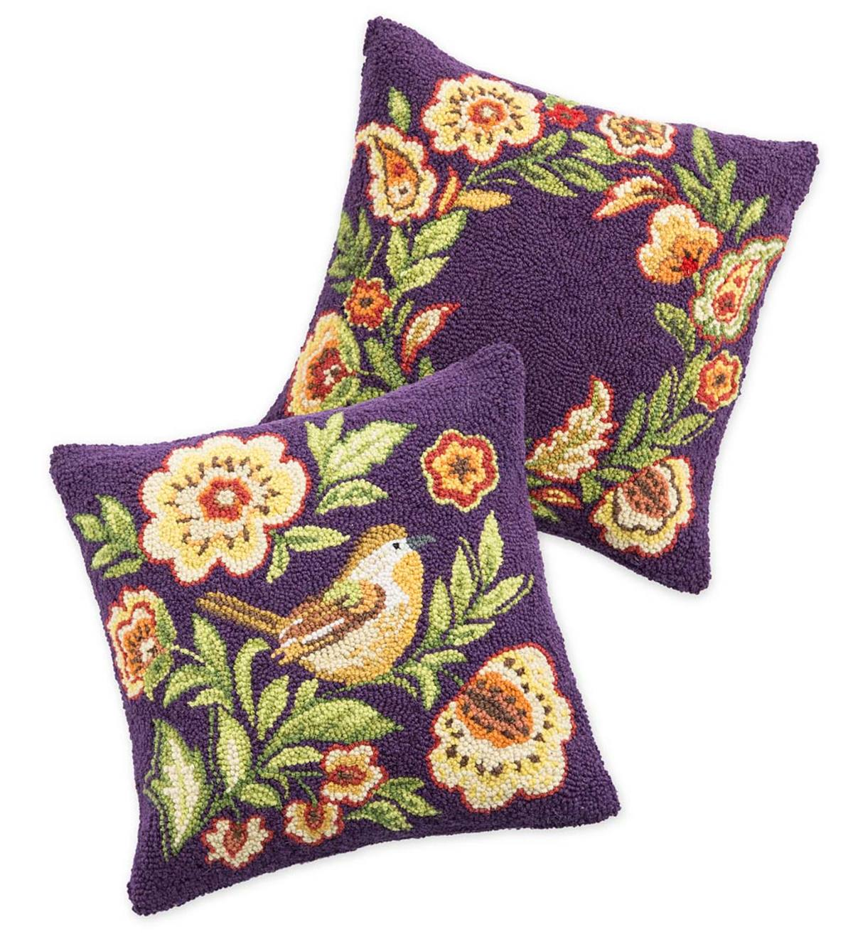 Hand-Hooked Wool Delilah Throw Pillows