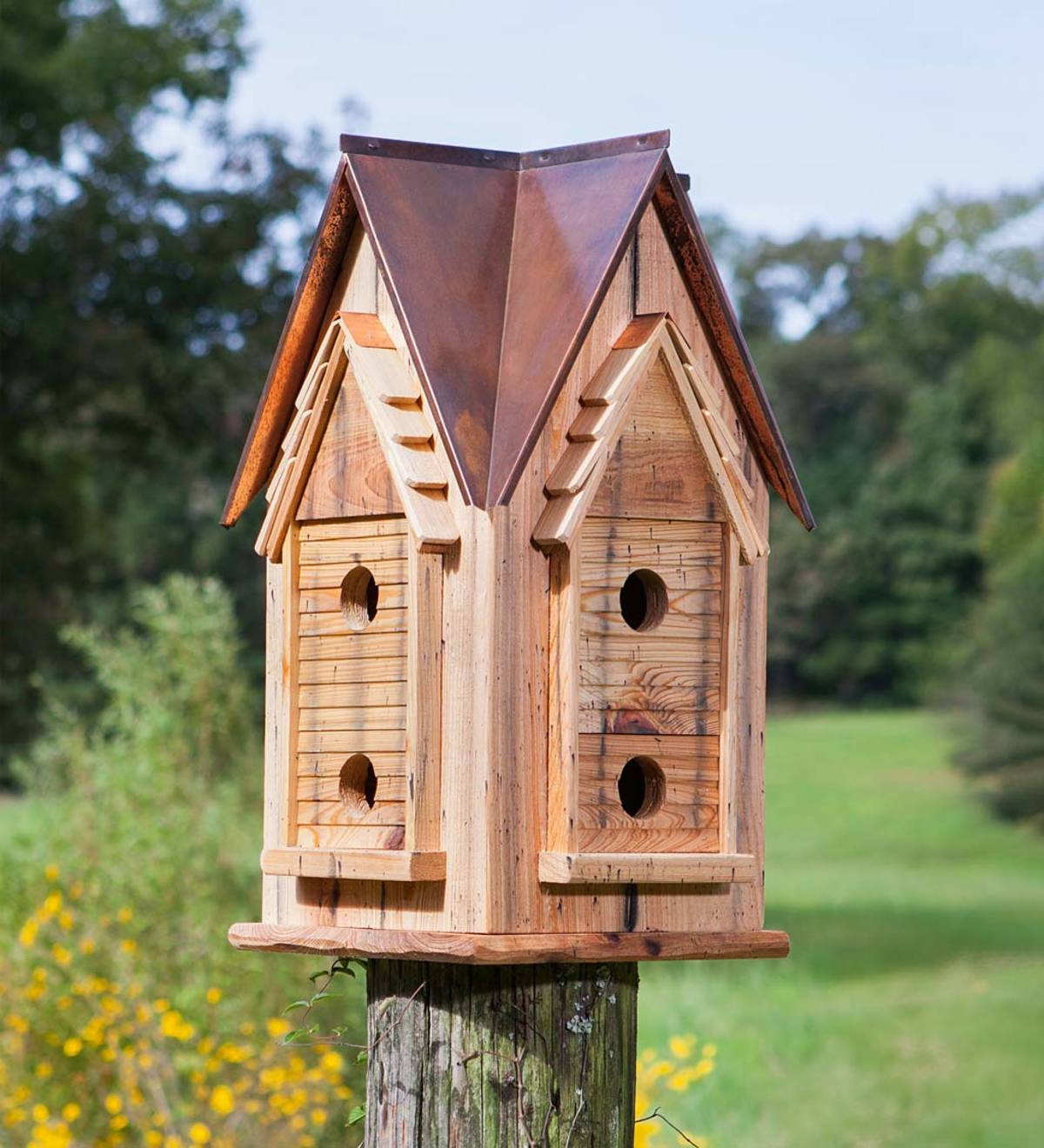 Cypress and Copper Mansion Birdhouse - Copper