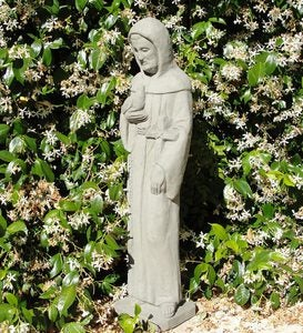 USA-Made Cast Stone Vintage St. Francis Garden Statue