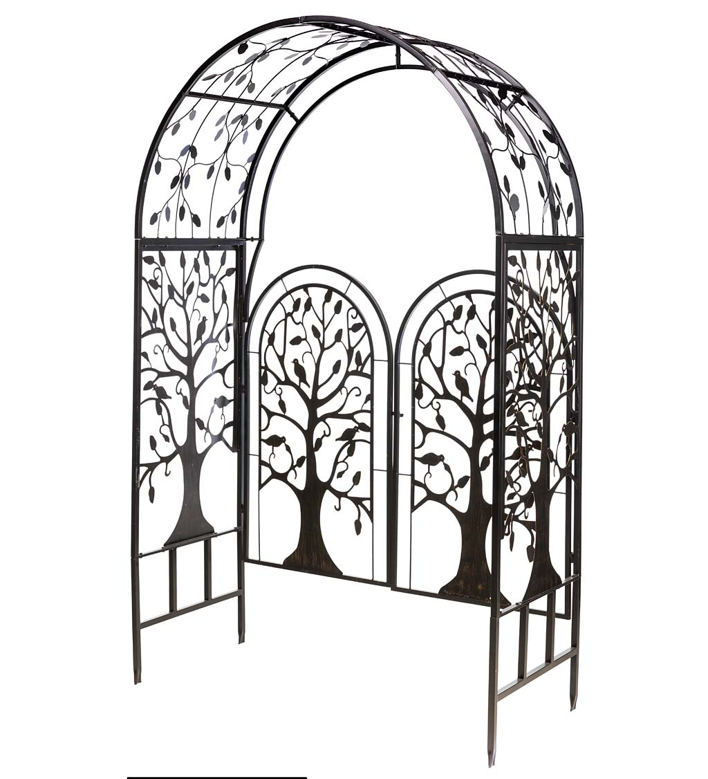 Metal Tree of Life Arched Garden Arbor with Gate