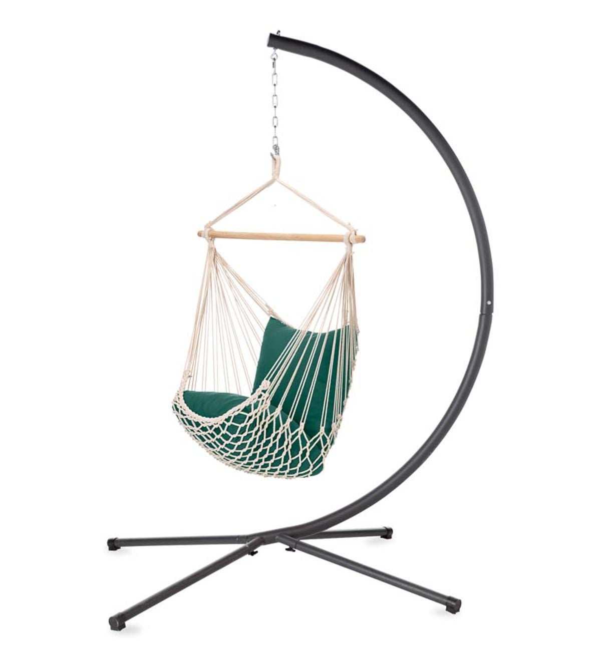 Green Striped Cotton Hammock Chair Swing Plowhearth