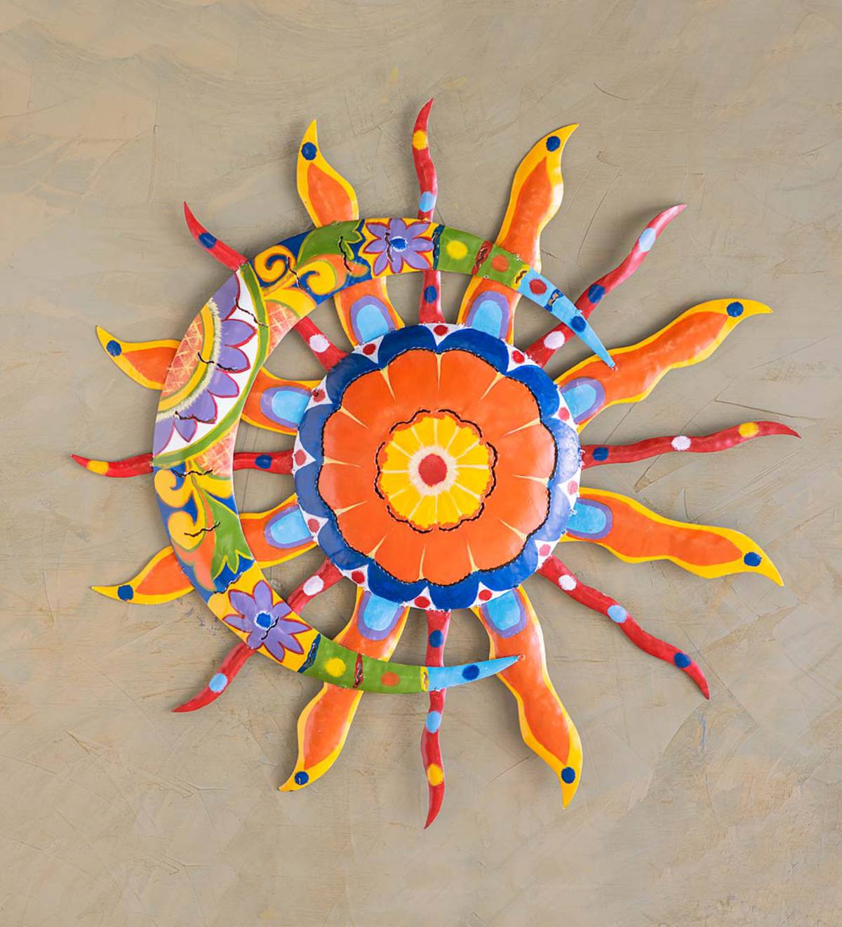 Talavera Sun And Moon Painted Metal Wall Art Plowhearth