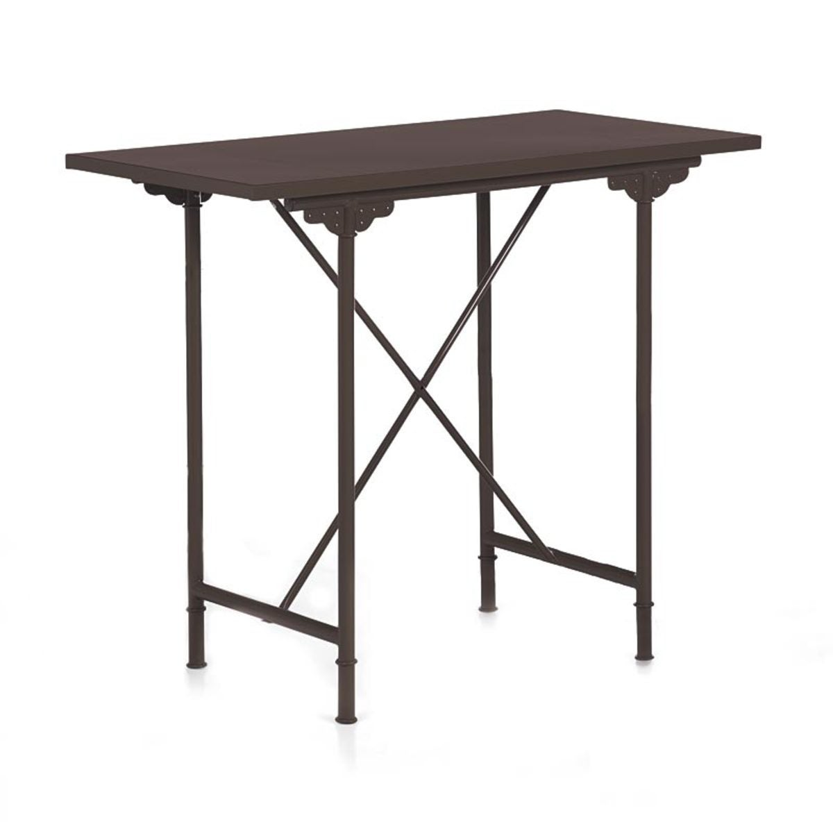 Farmhouse Metal Bar Table - Antique Brown