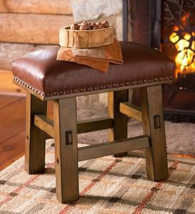 Canyon Brown Leather Footstool
