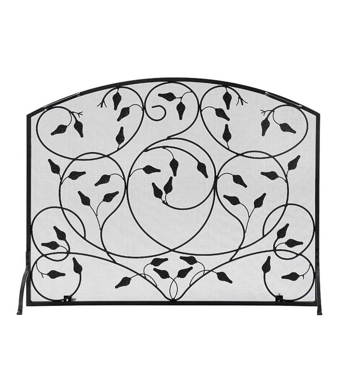 Wrought Iron Leaves Single Panel Fireplace Screen - Black