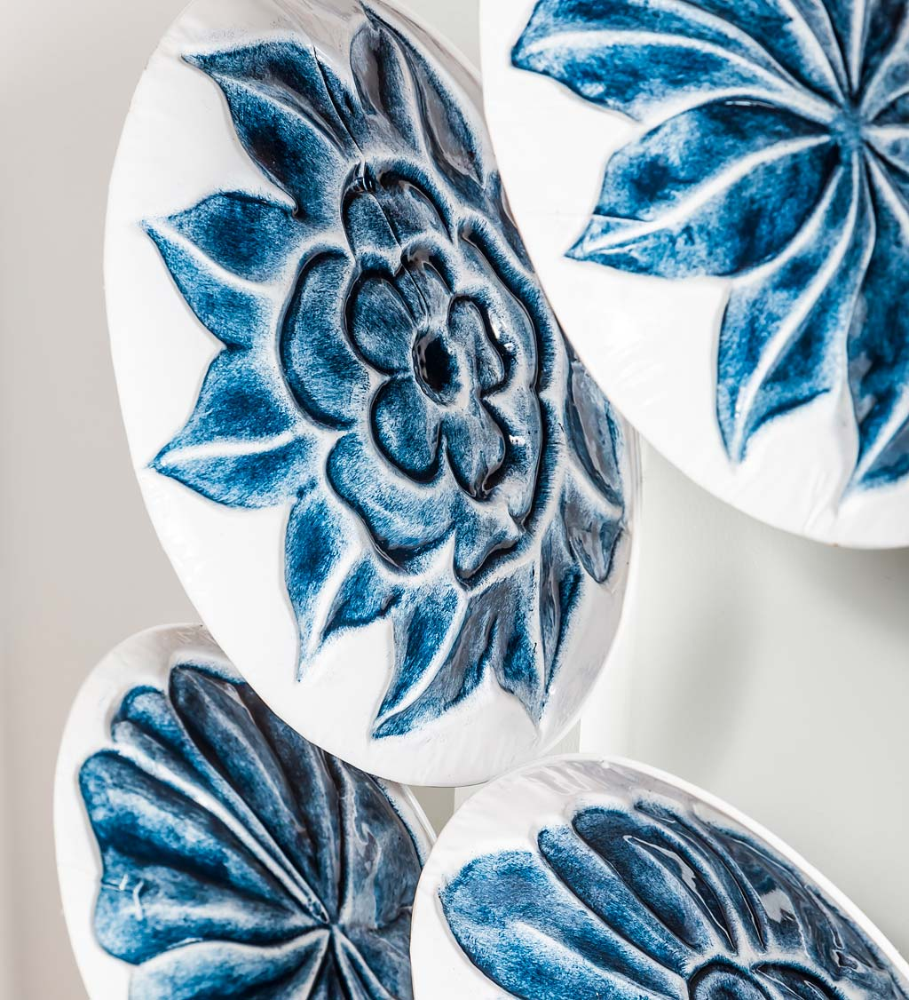 Floral Embossed Decorative Plates Wall Decor