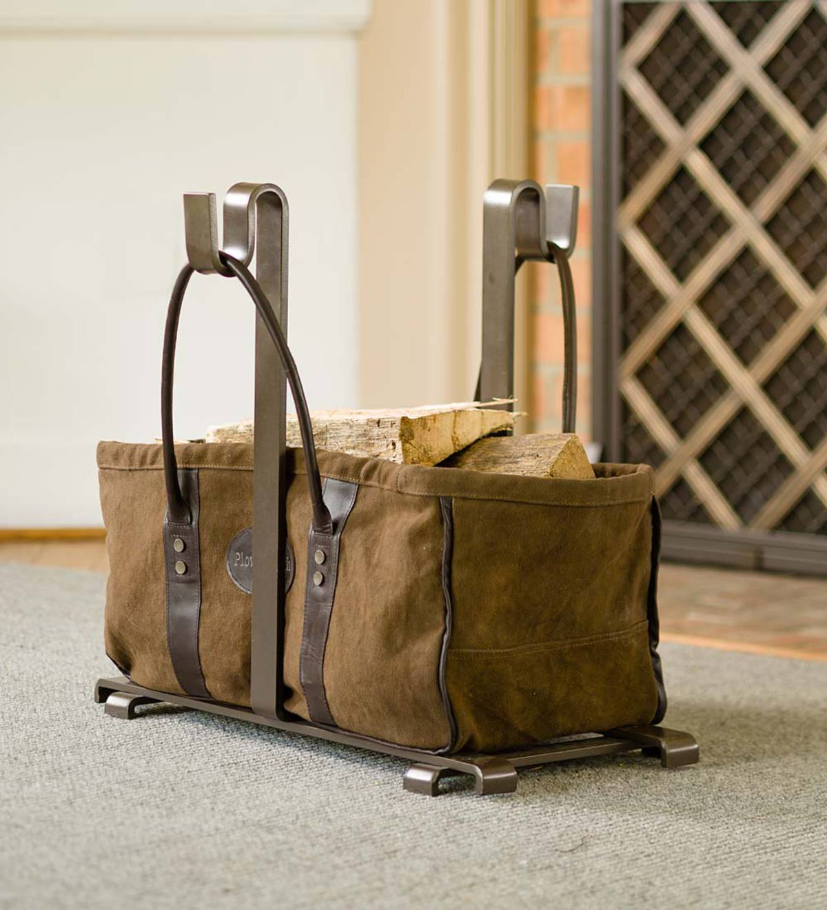 Heavy Duty Canvas Log Carrier And Steel Stand Set