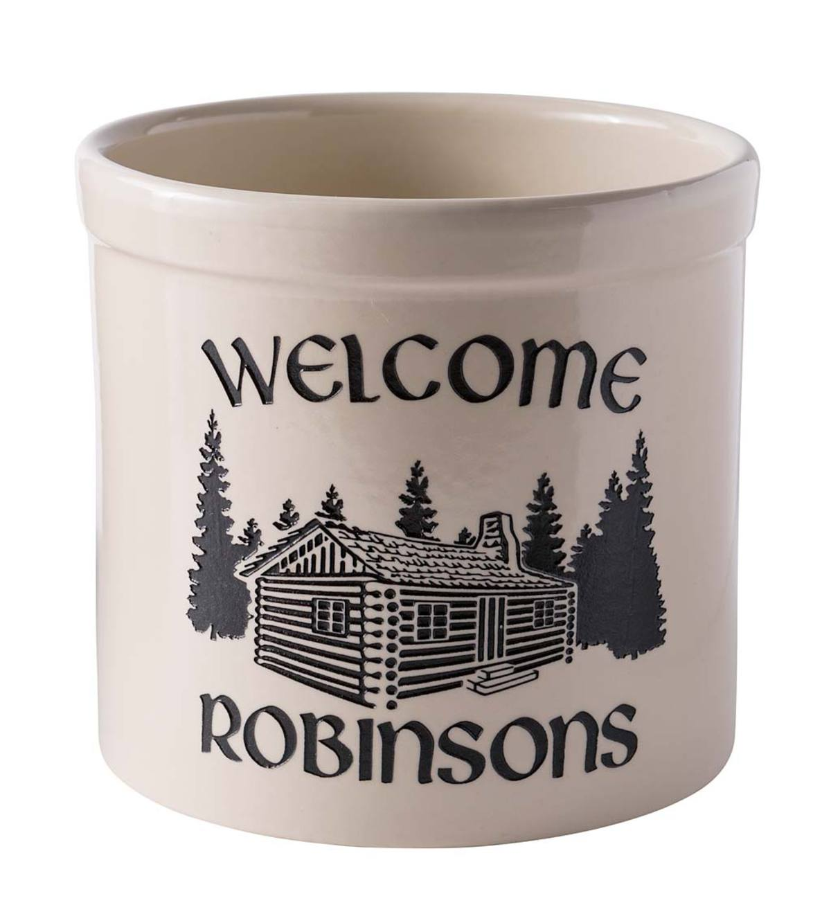 Personalized Cabin Stoneware Crock, 2 Gallons - Black