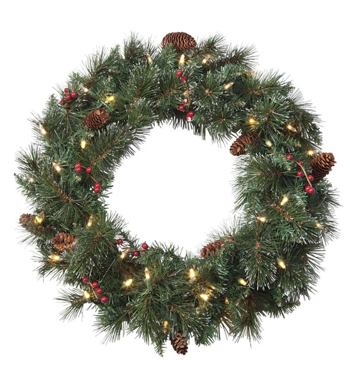 Dual Color LED Holiday Wreath | PlowHearth