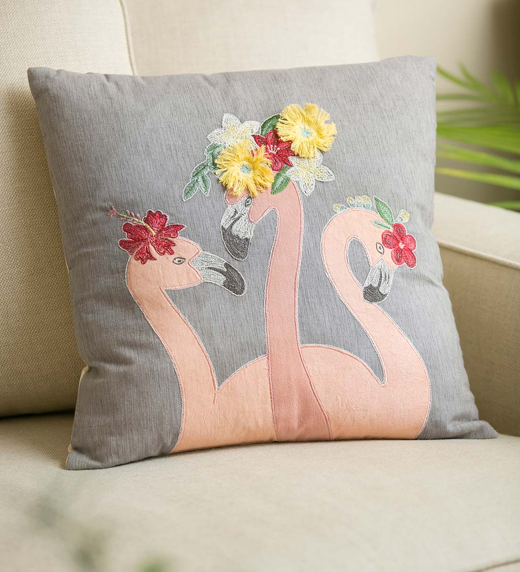 Embroidered Flamingos Throw Pillow