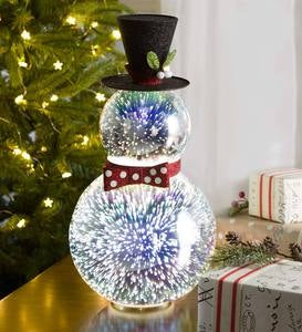 Glass Snowman with 3D Light Effects, Short