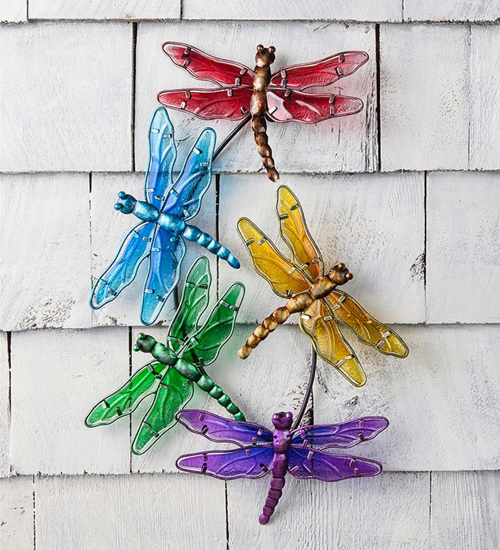 Dragonfly Rainbow Metal and Glass Wall Art