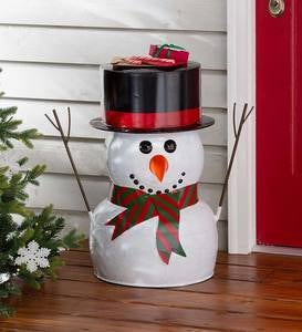 Indoor/Outdoor Metal Snowman Side Table
