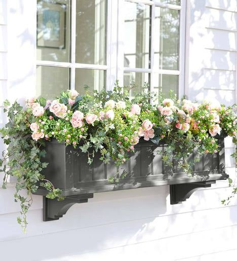 Lexington Self-Watering Window Box with Hanging Brackets, 4'L