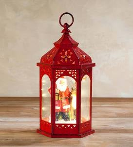 Holiday Lantern with Christmas Scene - Santa