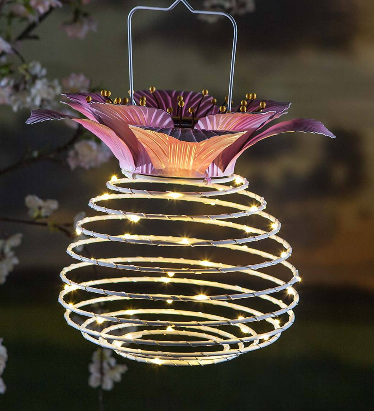Hanging Spring-Coil Solar Lantern with Flower Top