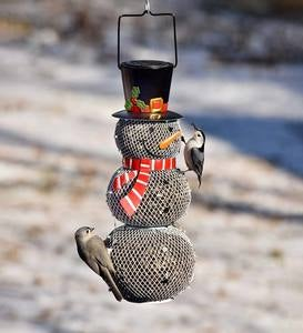 Solar Snowman Metal Mesh Bird Feeder
