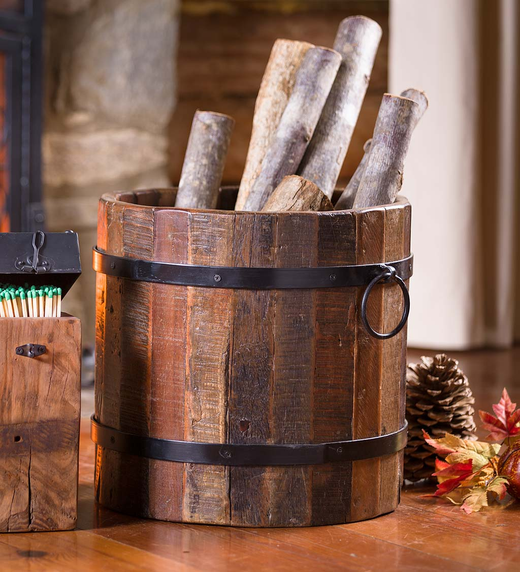 Birmingham Reclaimed Wood Hearth Bucket