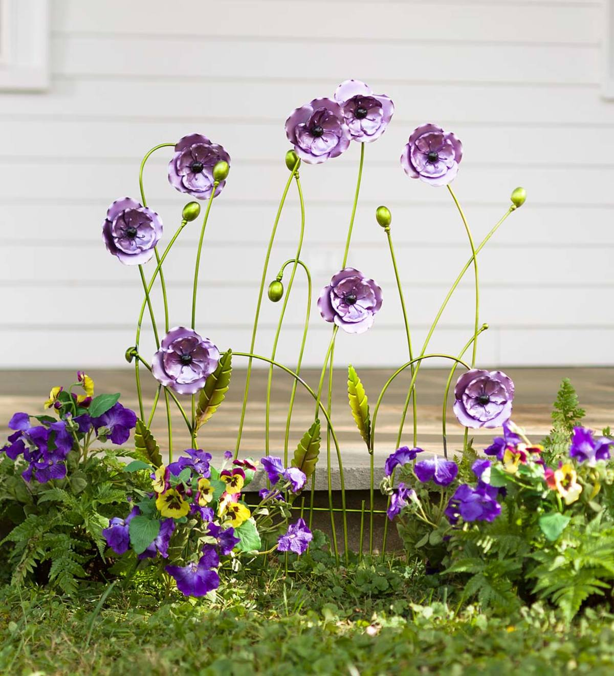 Purple Flower Decorative Garden Fence Panel Painted Metal Accent