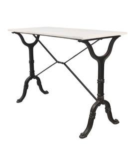 "30""-High Marble-Top Cast Iron Console Table"