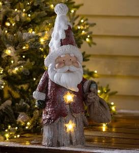 Indoor/Outdoor Holiday Lighted Woodland Santa Statue