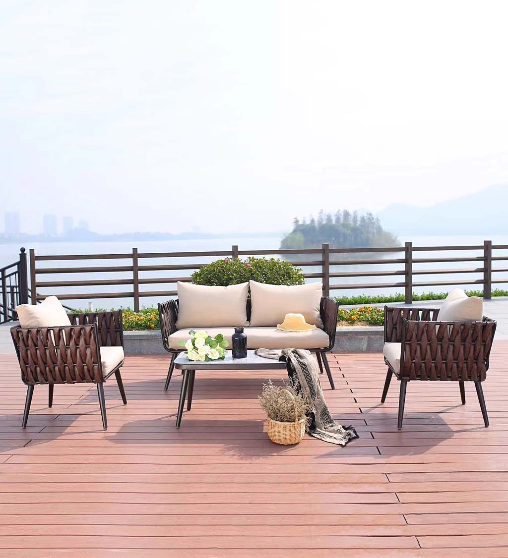 Steel Frame Wicker Sofa Set with Cushions, 4-Piece