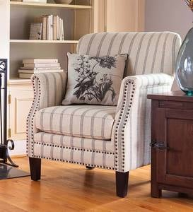 Classic Ticking Stripe Upholstered Club Chair