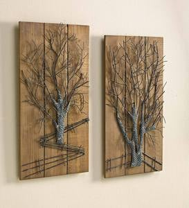 Metal Tree on Wooden Wall Art, Set of 2