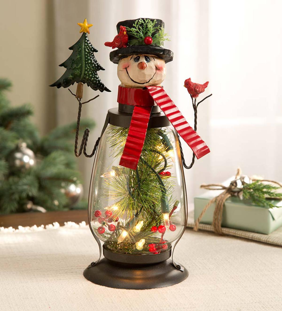 Lighted Holiday Snowman Lantern Plowhearth