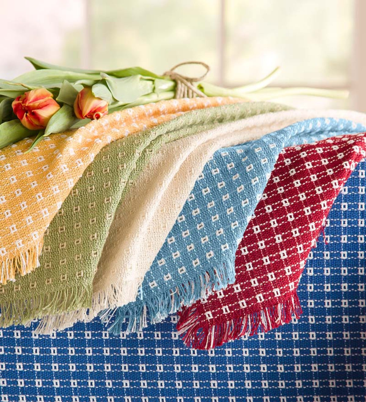 Round Homespun Cotton Reversible Tablecloth 70 Quot Plowhearth