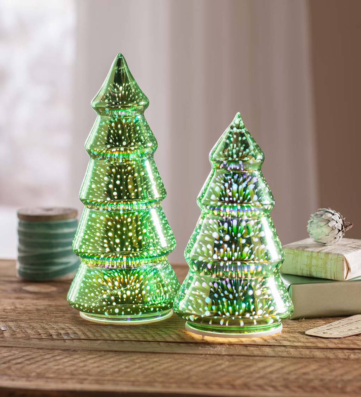 Glass Christmas Trees with 3D Light Effect, Set of 2