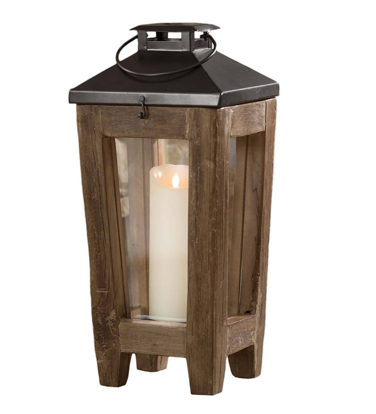 Large Reclaimed Wood and Metal Lantern