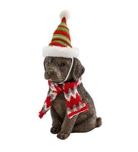 Holiday Labrador Puppy Statue with Hat and Scarf