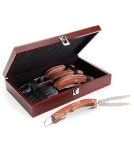 "Three-Piece Stainless Steel And Wood Grill Utensil Set With Wooden Box As Seen on The Weather Channel's ""Wake Up with Al""Show"
