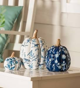 Artisan Blues Ceramic Pumpkins, Set of 3