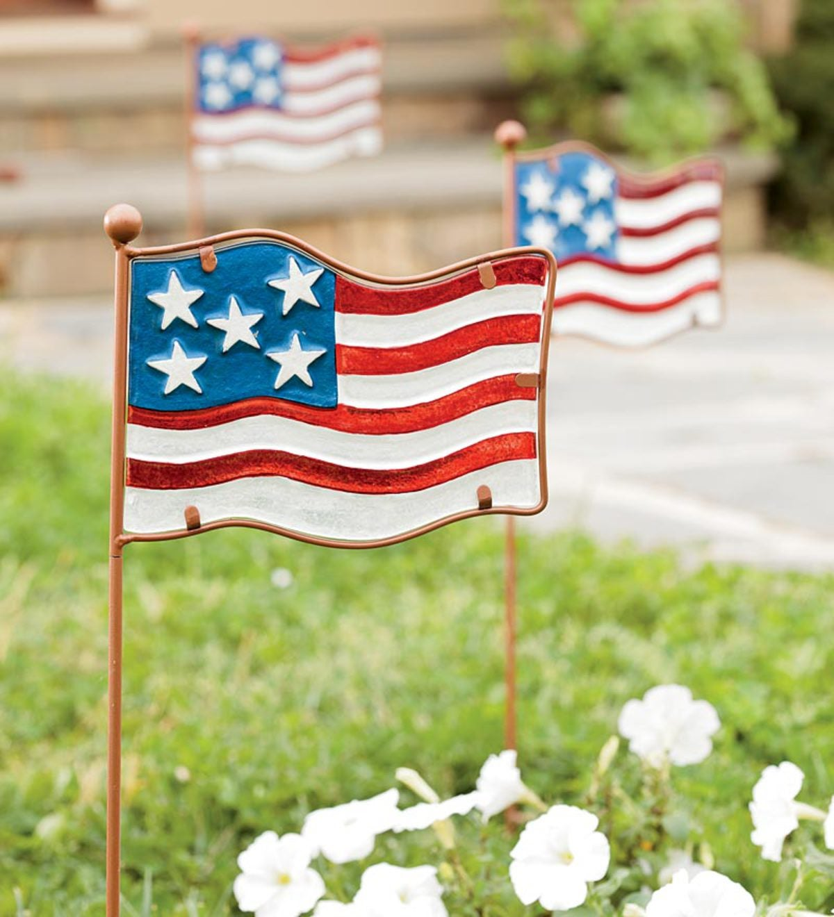 Set Of 6 Glass And Metal Flag Garden Stakes