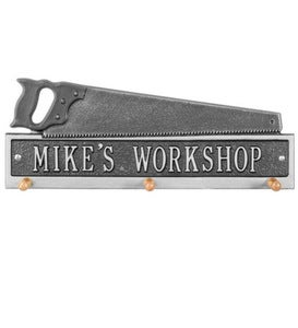 American Made Personalized Saw Hook Plaque In Cast Aluminum