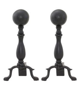 Black Ball Andirons, pair