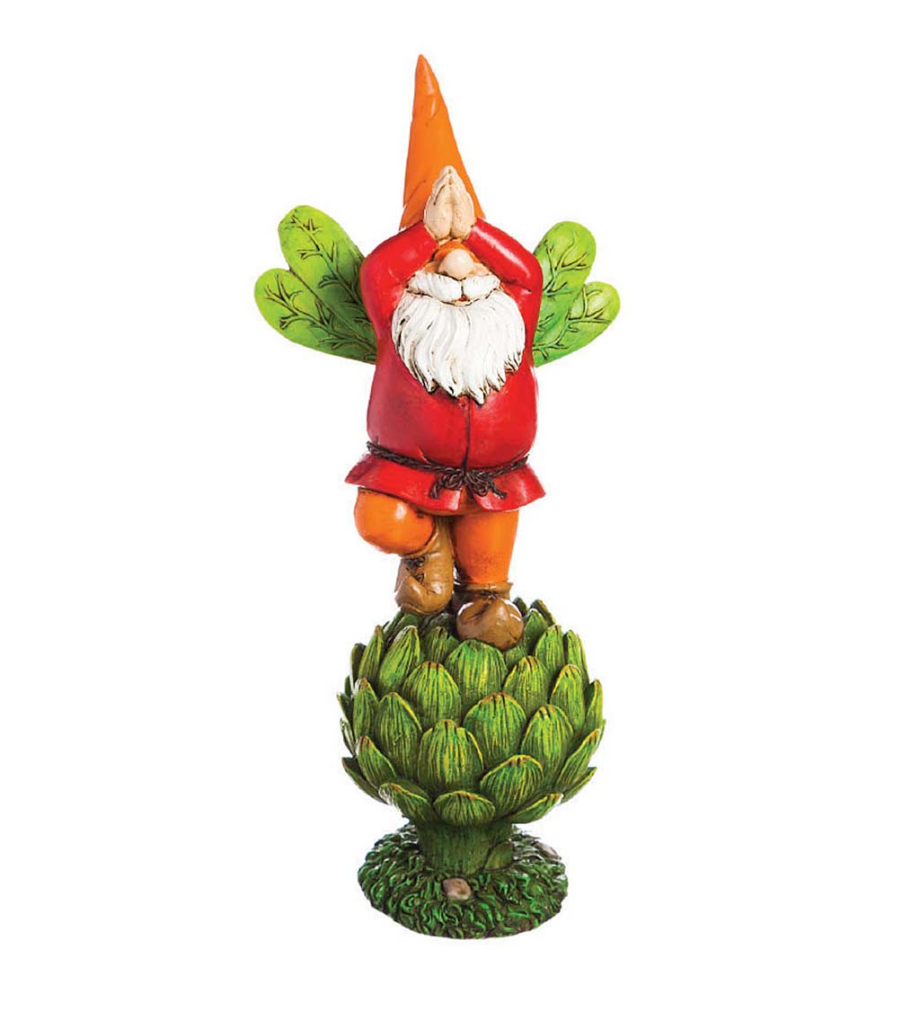 Happy Posing Gnome on Vegetable Garden Statue swatch image