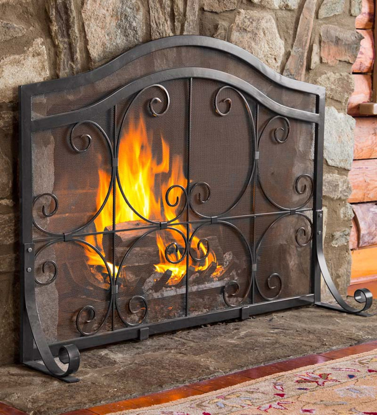 Large Crest Flat Guard Fireplace Screen - Black