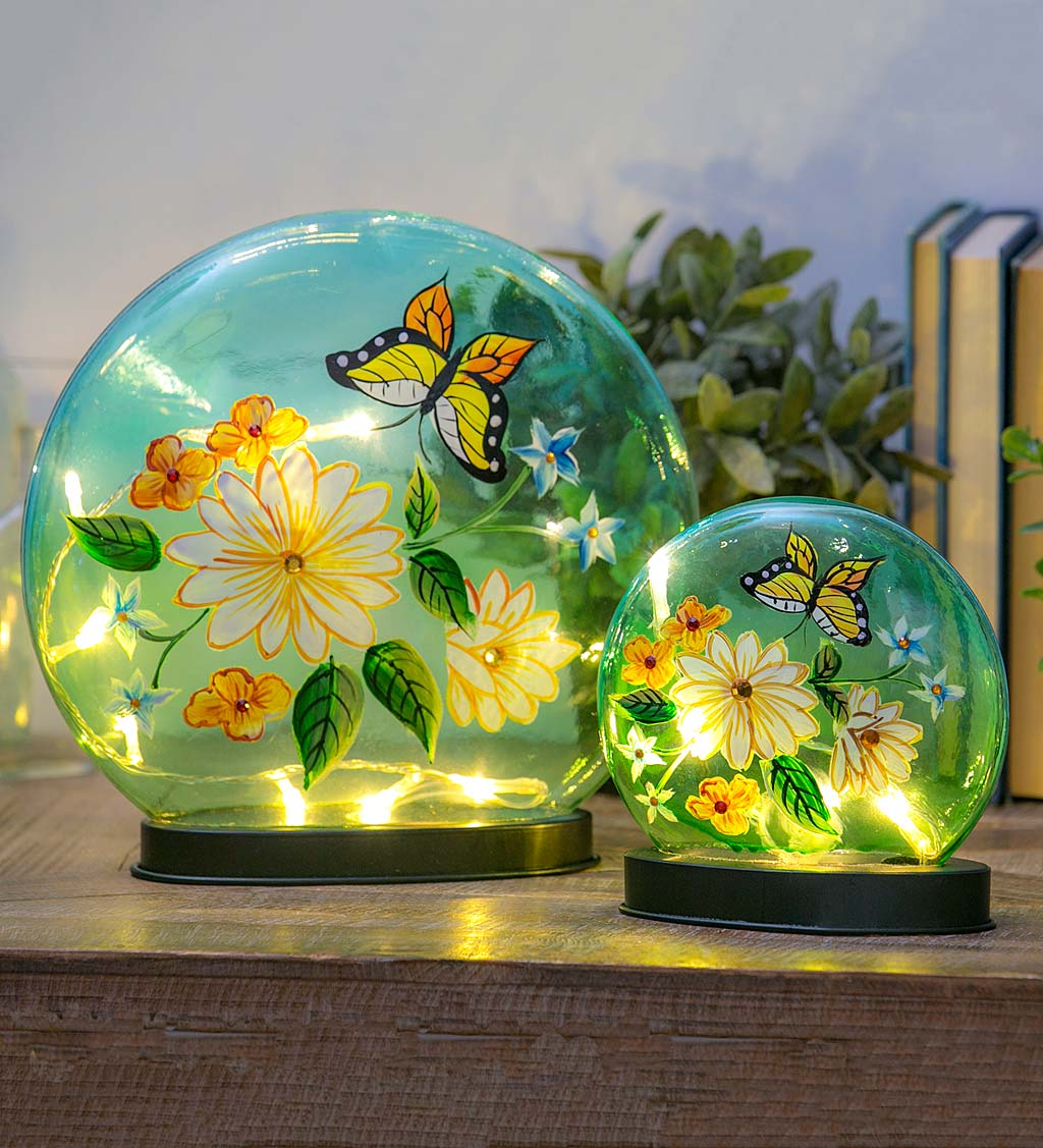 Hand-Painted Butterfly and Flowers Crackle LED Glass Disc, Set of 2