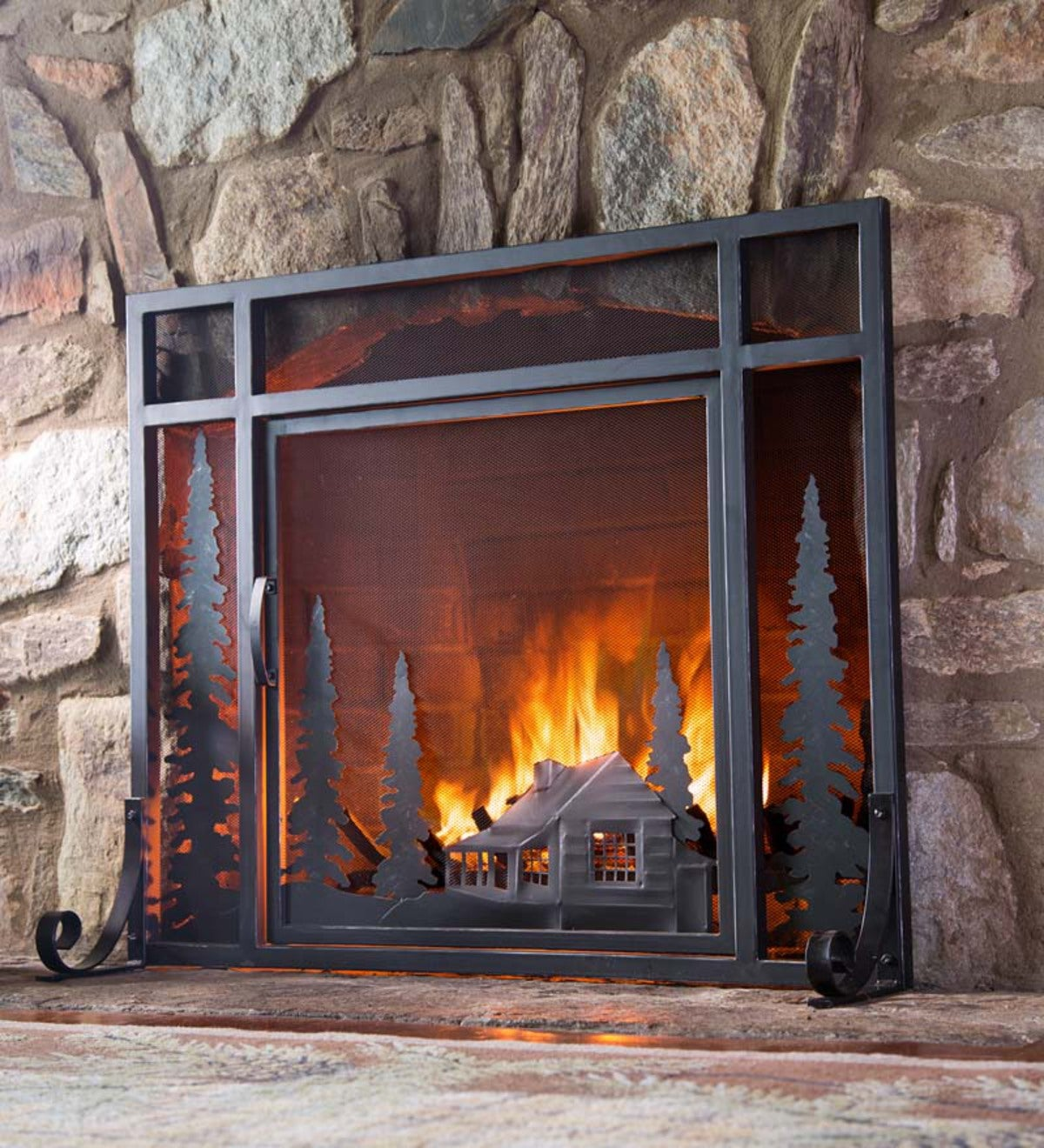 Large Mountain Cabin Fire Screen With Door - Black