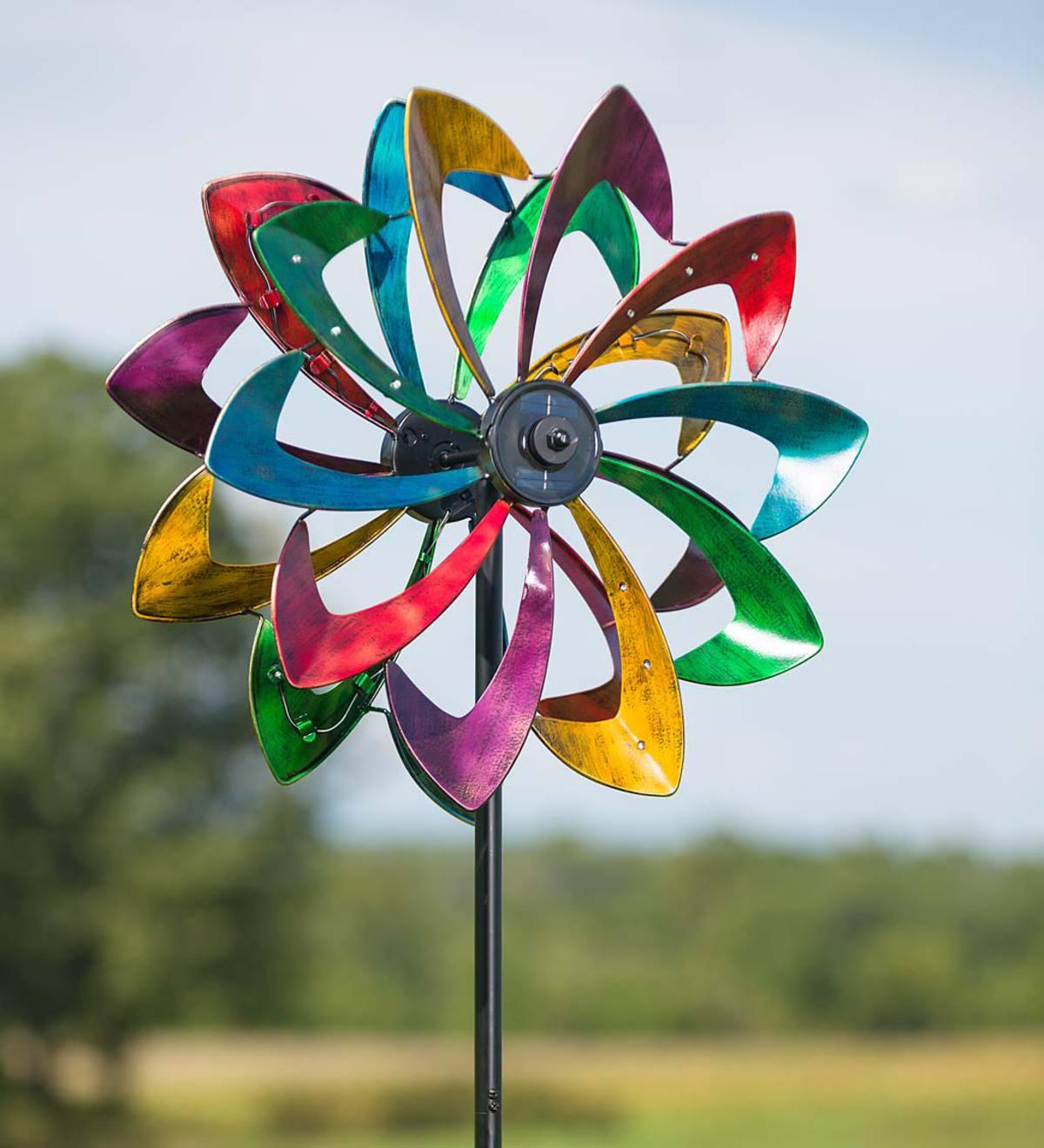 Solar Led Flower Wind Spinner Wind Spinners Plowhearth