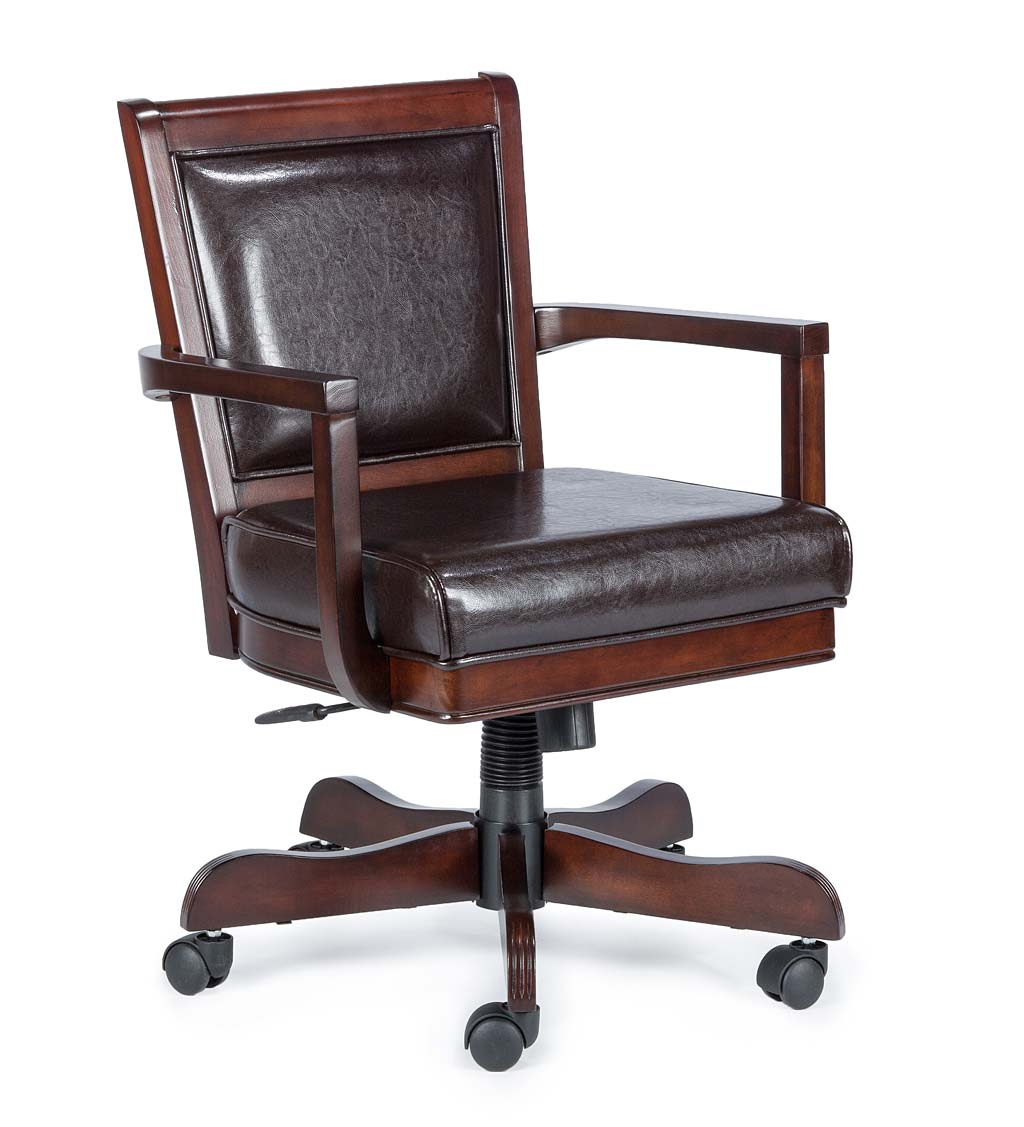 Clark Adjustable Height Game Chair with 360 Swivel in Medium Brown Cherry and Bonded Brown Leather