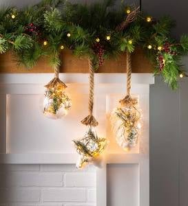 Indoor/Outdoor Oversized Lighted Glass Ornament with Greenery