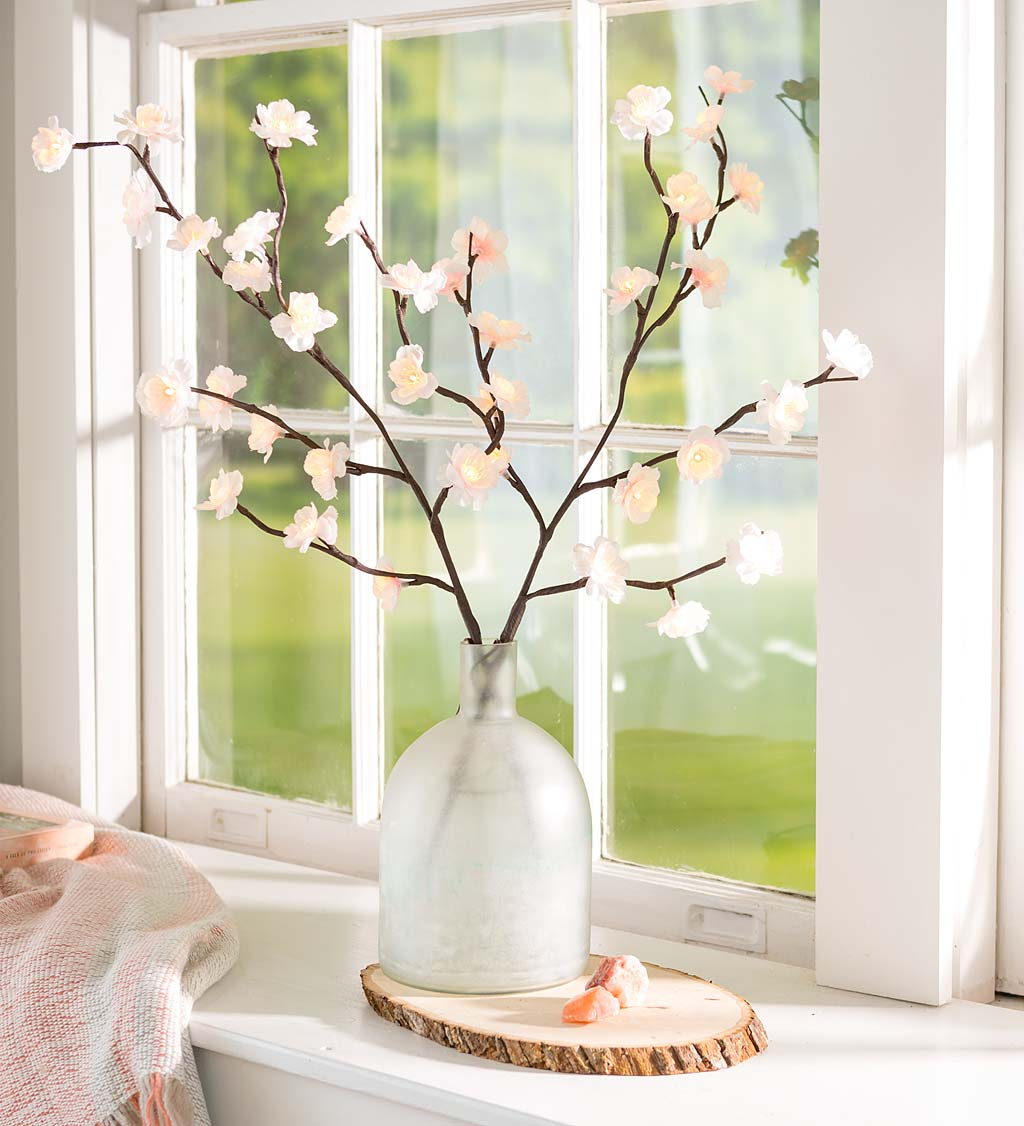 Indoor/Outdoor Lighted Cherry Tree Branches, Set of 2