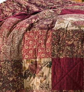 Cranberry Floral Patchwork Throw